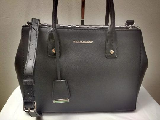 New York & Company Removable Strap Faux Leather Side Clasps Magnetic Flap Satchel in Black Image 4