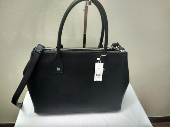 New York & Company Removable Strap Faux Leather Side Clasps Magnetic Flap Satchel in Black Image 6