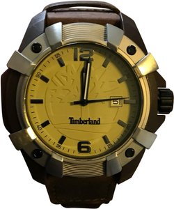Timberland New Timberland Men's Chocorua Brown Leather Ecru Detail Strap Watch TBL13326