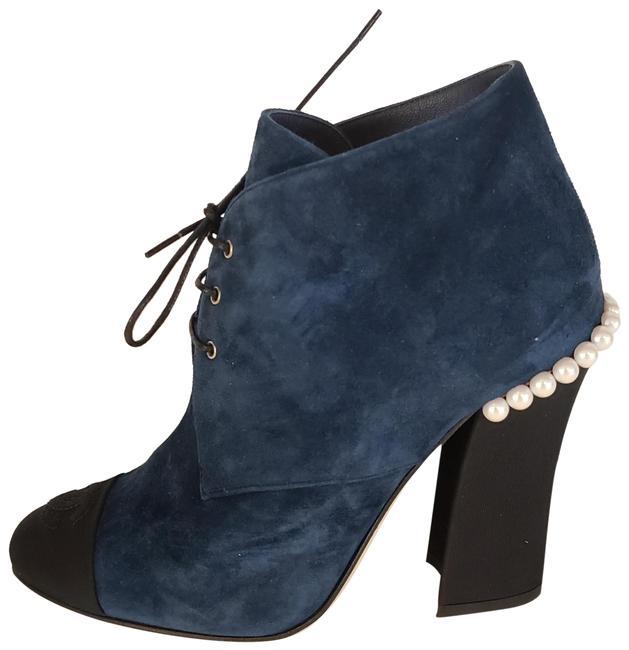 Item - Dark Blue/Black 18c Suede Grosgrain Cap Toe Pearl Embellished Heel Boots/Booties Size EU 36.5 (Approx. US 6.5) Regular (M, B)