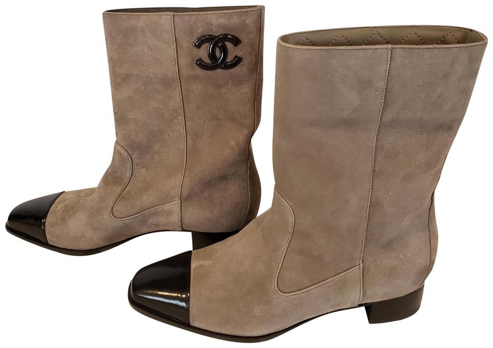 f3798e2a07bb Chanel Khaki Black 18b Suede Leather Cap Toe Mid Calf Boots Booties ...