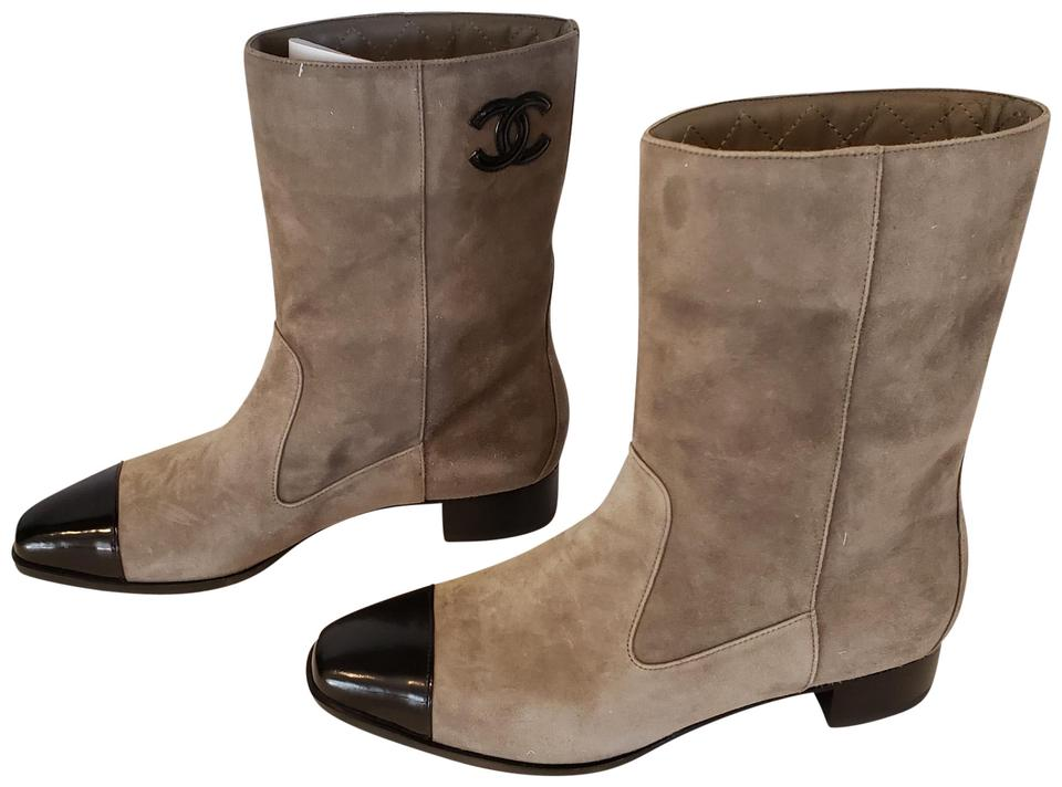 402b4203040 Chanel Khaki/Black 18b Suede Leather Cap Toe Mid Calf Boots/Booties Size EU  38 (Approx. US 8) Regular (M, B) 37% off retail