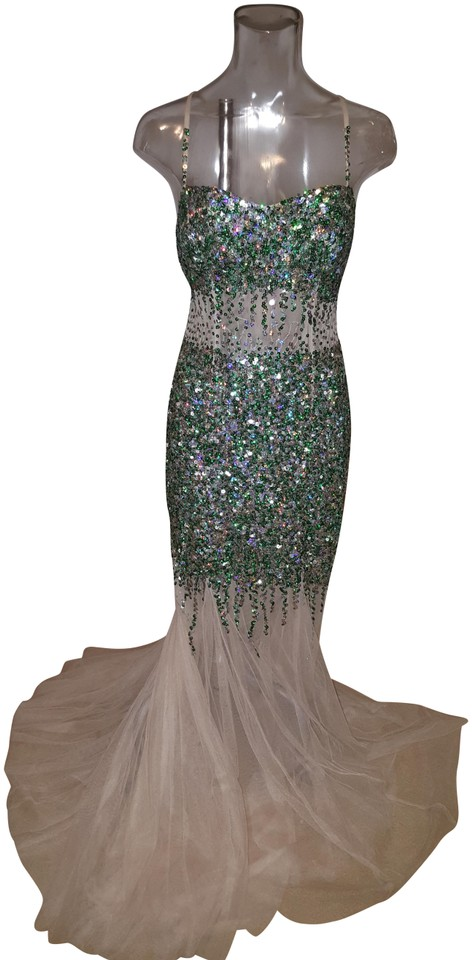 6da4213f36 Camille la Vie Nude and Green Mermaid Sequin Long Formal Dress Size ...