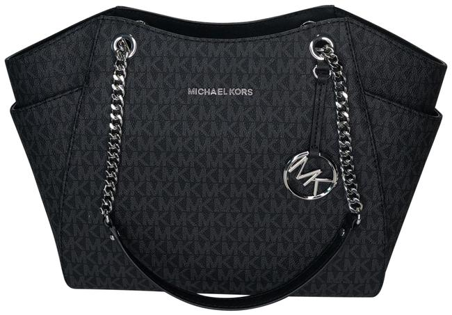 Michael Kors Jet Set Travel Lg Chain Tote Signature Mk Black Leather Shoulder Bag Michael Kors Jet Set Travel Lg Chain Tote Signature Mk Black Leather Shoulder Bag Image 1