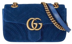 Gucci Quilted Brass Gg Shoulder Bag · Gucci. Marmont Small Matelasse Blue  Velvet ... 9b007ad406681