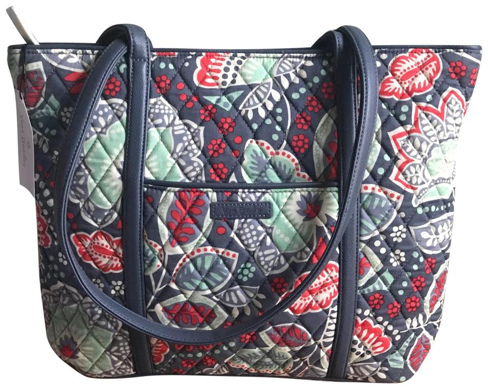 b1be04d6a3 Vera Bradley Nomadic Floral Small Trimmed Grey Cotton Tote - Tradesy