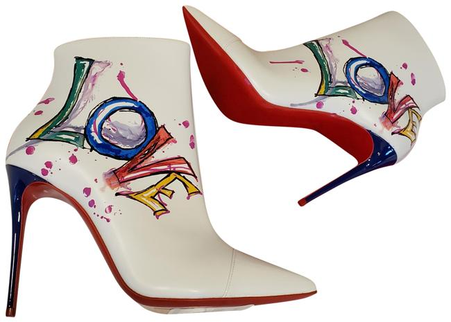 Item - White In Love 100 Printed Leather Heels Ankle Boots/Booties Size EU 39.5 (Approx. US 9.5) Regular (M, B)