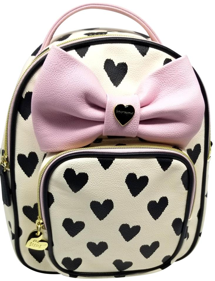 758b10e448 Betsey Johnson Like New Hearts Pink Bow Convertible White Black Faux  Leather Backpack