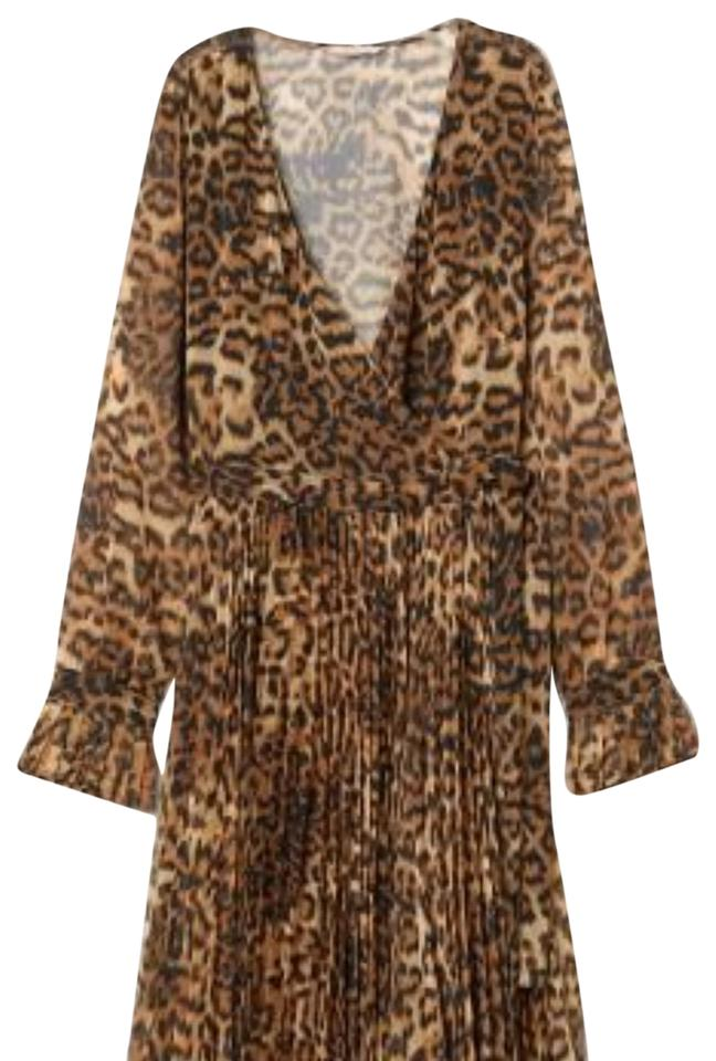 e2717a9b6def H&M Leopard Pleated Print Long Casual Maxi Dress Size 8 (M) - Tradesy