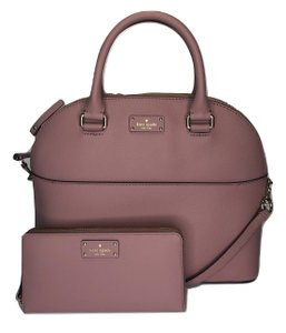 Kate Spade Carli Matching Wallet Matching Set New Satchel in Dusty Peony