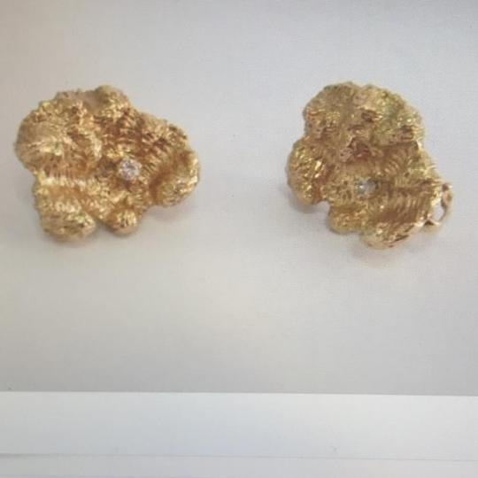 Unknown 14K Yellow Gold and Diamond Earrings Image 6