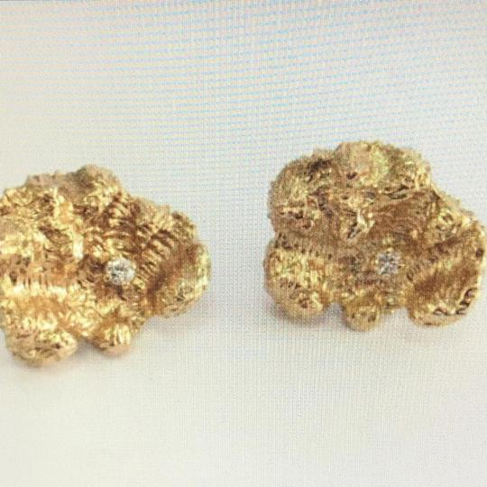 Unknown 14K Yellow Gold and Diamond Earrings Image 8