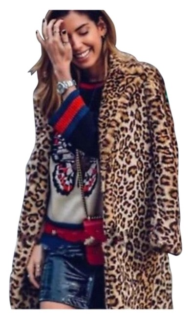 Item - Black / Brown Blogger Fav Leopard Animal Print with Buttons Coat Size 12 (L)