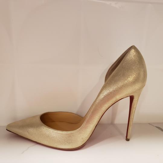 Christian Louboutin Heels Iriza D'orsay Suede Platinum Gold Pumps Image 1