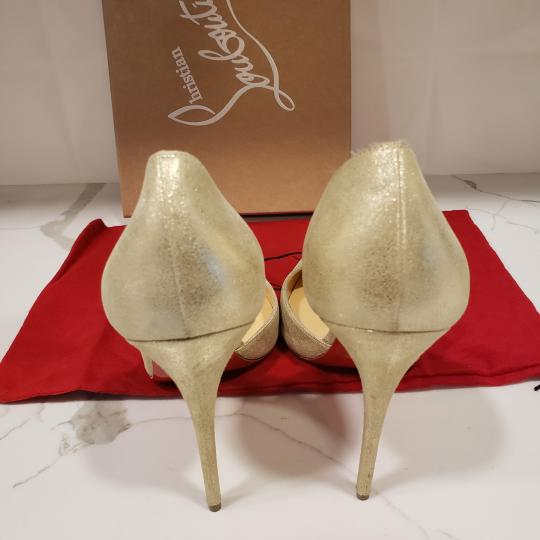 Christian Louboutin Heels Iriza D'orsay Suede Platinum Gold Pumps Image 2