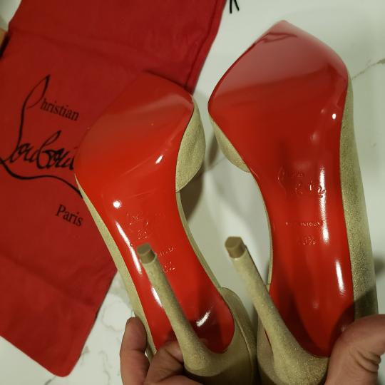 Christian Louboutin Heels Iriza D'orsay Suede Platinum Gold Pumps Image 3