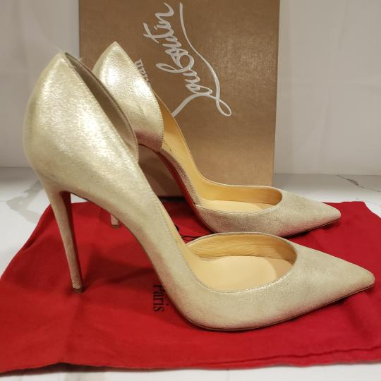 Christian Louboutin Heels Iriza D'orsay Suede Platinum Gold Pumps Image 6