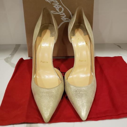 Christian Louboutin Heels Iriza D'orsay Suede Platinum Gold Pumps Image 7