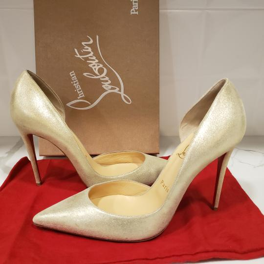 Christian Louboutin Heels Iriza D'orsay Suede Platinum Gold Pumps Image 9