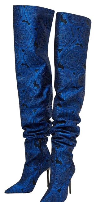 Item - Blue Floral Fabric Thigh High Boots/Booties Size US 7 Regular (M, B)
