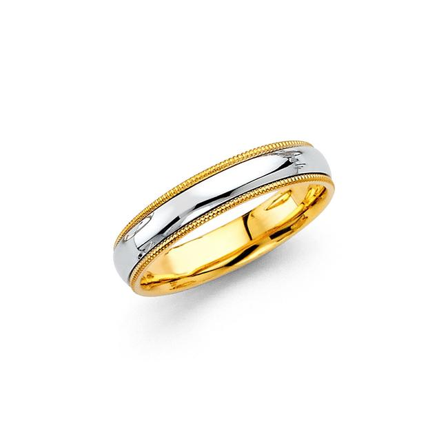 Top Gold & Diamond Jewelry Two Tone 14k 3.8mm Comfort Fit Wedding Band - Size 8 Ring Top Gold & Diamond Jewelry Two Tone 14k 3.8mm Comfort Fit Wedding Band - Size 8 Ring Image 1