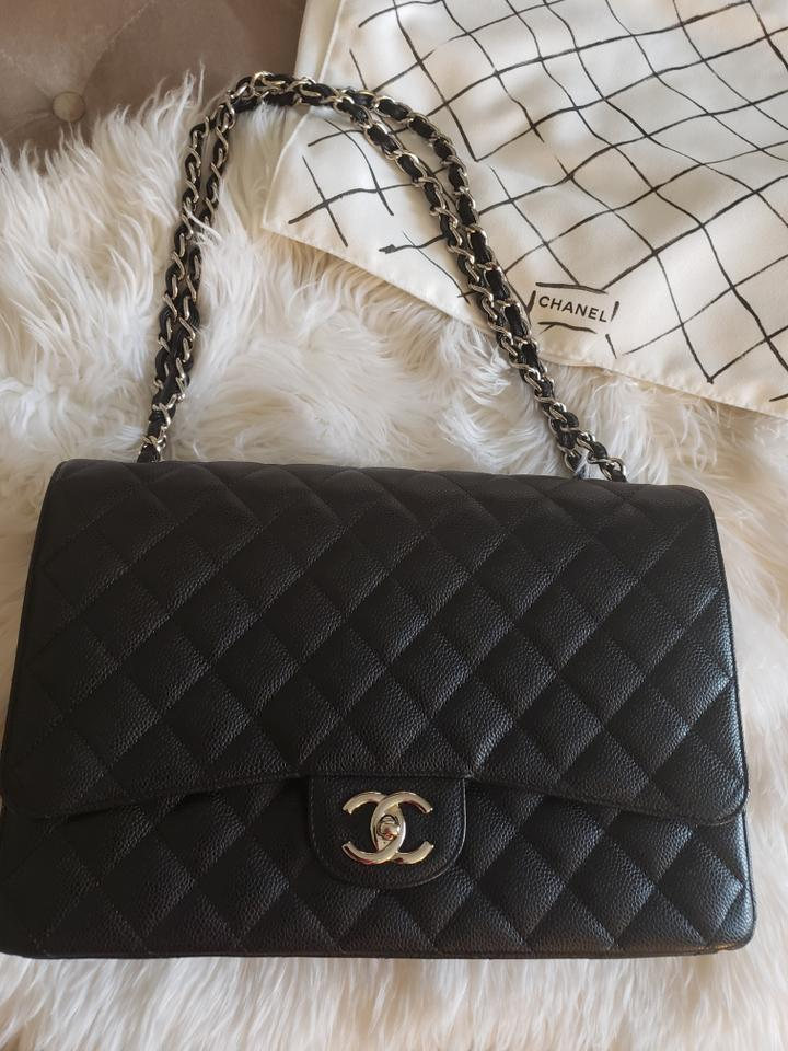 6d5849236ad6 Chanel Double Flap Classic Handbag Maxi Black/Silver Caviar Leather ...