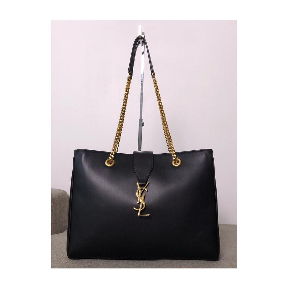 8950495fa56f Saint Laurent Cassandre Ysl Black Leather Gold Hdw Tote Shoulder Bag ...