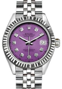 Rolex Rolex Silver and Purple 36 Mm Datejust with Diamond Dial Watch