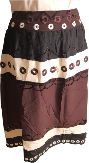 Item - Black/White/Brown Nwot-sz 12- Black/White/Brown Silk Sequined Lined Skirt Size 12 (L, 32, 33)