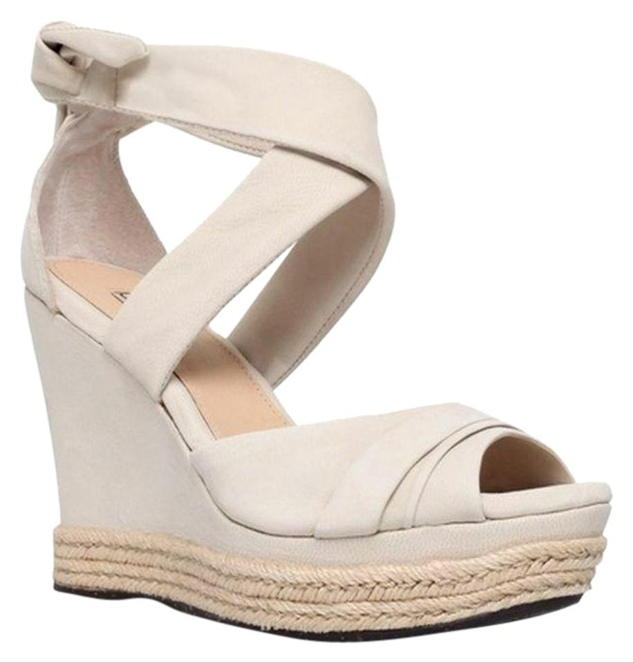 f326b8fac36 UGG Australia Lucy Sandal Nude Peep Toe Criss Cross Rubber Sole Leather  Wedges Size US 9 Regular (M, B) 67% off retail