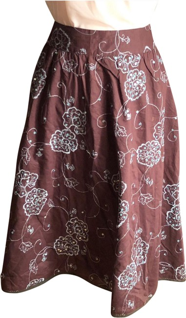Item - Brown/Aqua New York Cotton with Embroidered Flowers/Sequins Skirt Size 12 (L, 32, 33)