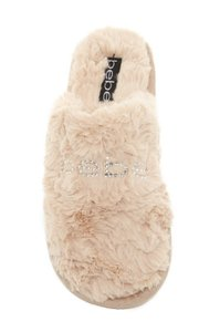 bebe Charee Faux Fur Soft Smooth Beige Mules
