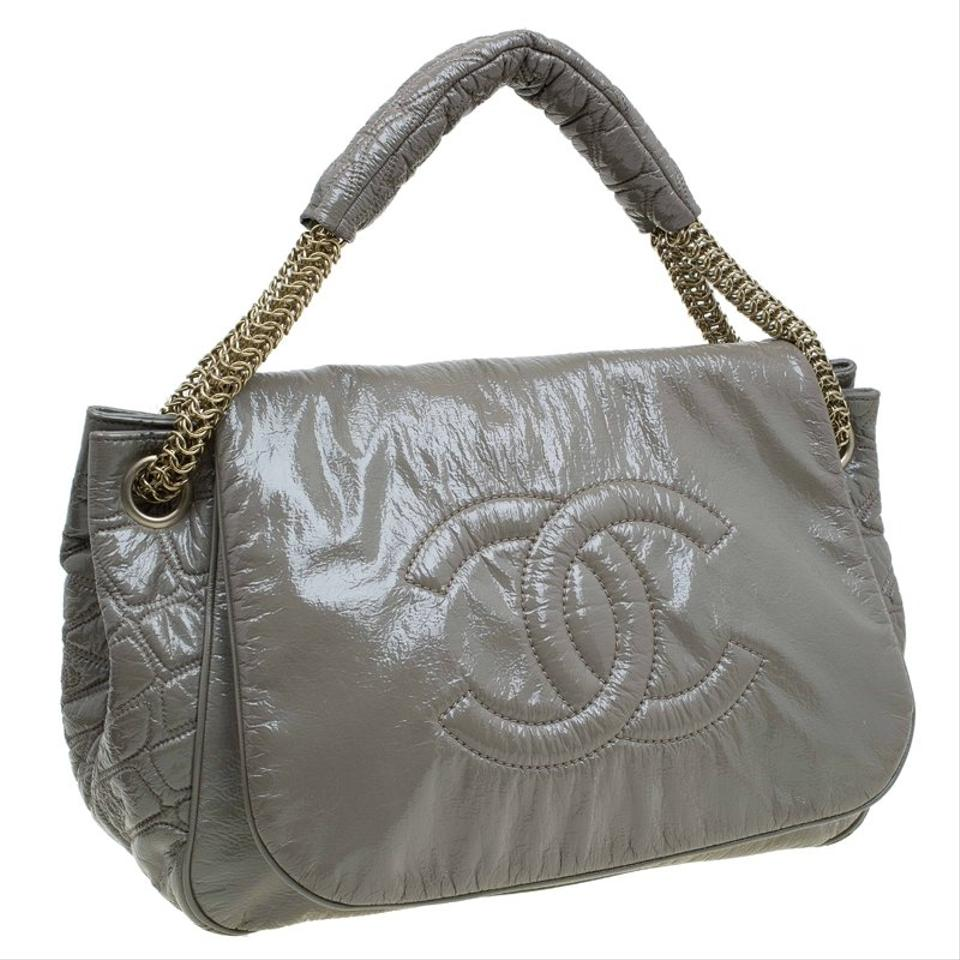 8deeb2c77071 Chanel Classic Flap Olive Rock and Chain Accordion Green Patent Leather  Shoulder Bag - Tradesy