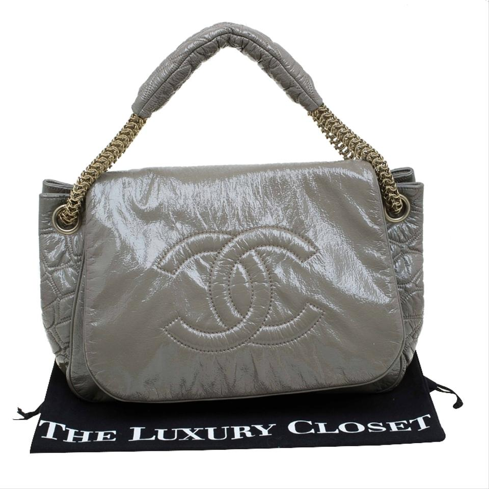 189a86be6099 Chanel Classic Flap Olive Rock and Chain Accordion Green Patent ...