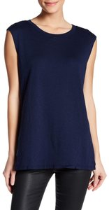 Michael Stars Muscle Sleeveless Crew Neck Mesh Made In Usa Top Navy Blue