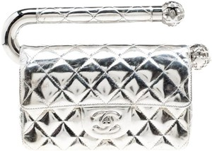 1e0e200345c6 Chanel Clutch Quilted Around The World Silver Leather Clutch - Tradesy