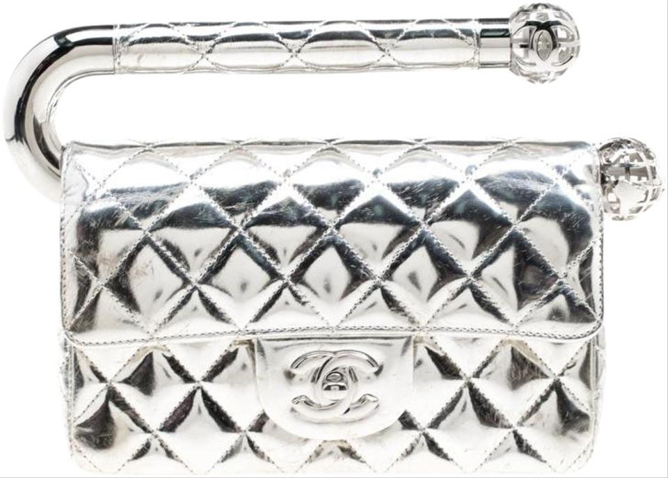 bf0ee329dbf2 Chanel Clutch Quilted Around The World Silver Leather Clutch - Tradesy