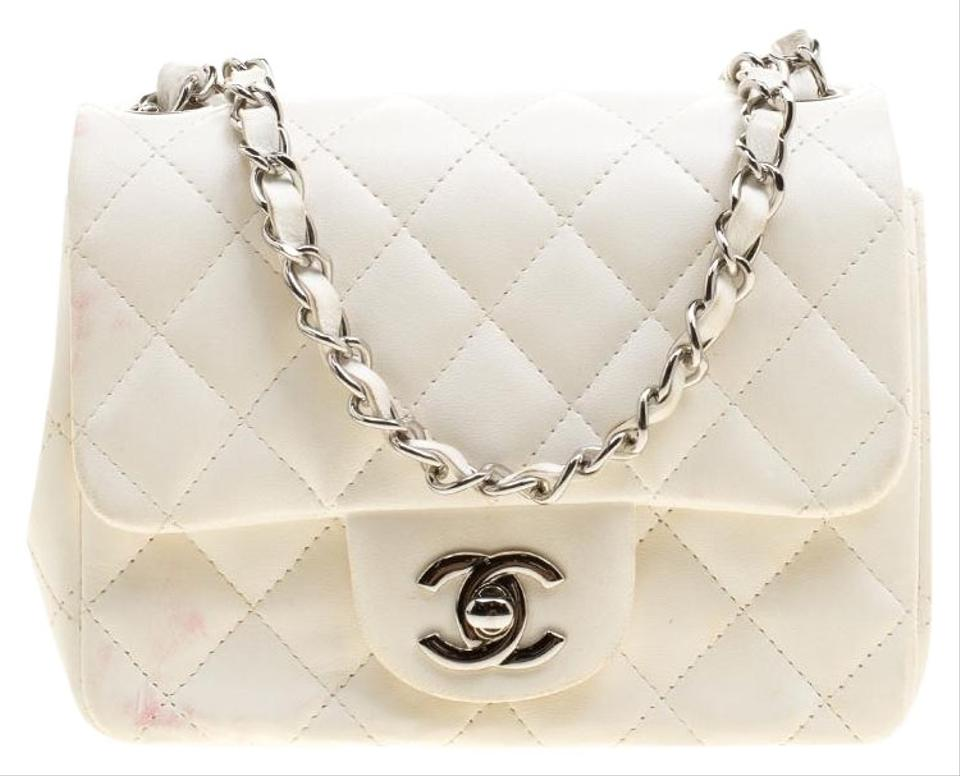 Chanel Classic Flap Quilted Mini Classic Single White Leather Shoulder Bag d1669b6130431