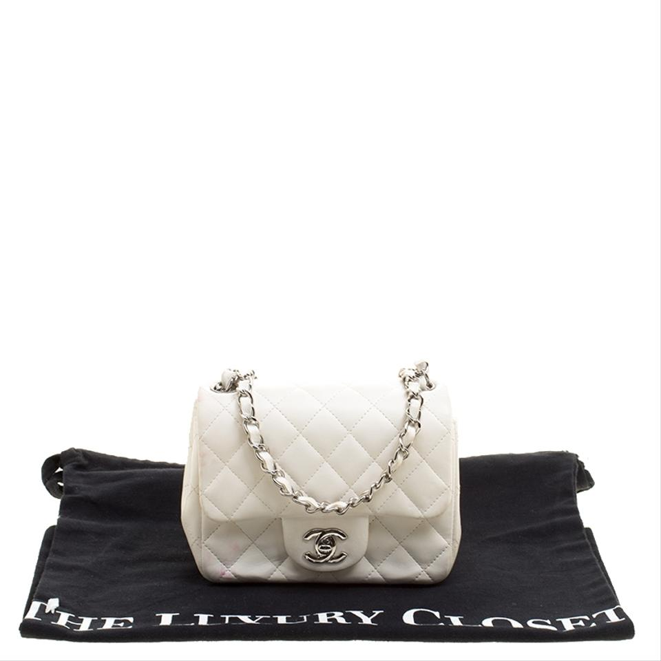 Chanel Classic Flap Quilted Mini Classic Single White Leather ... 5a288f3bc2a7d