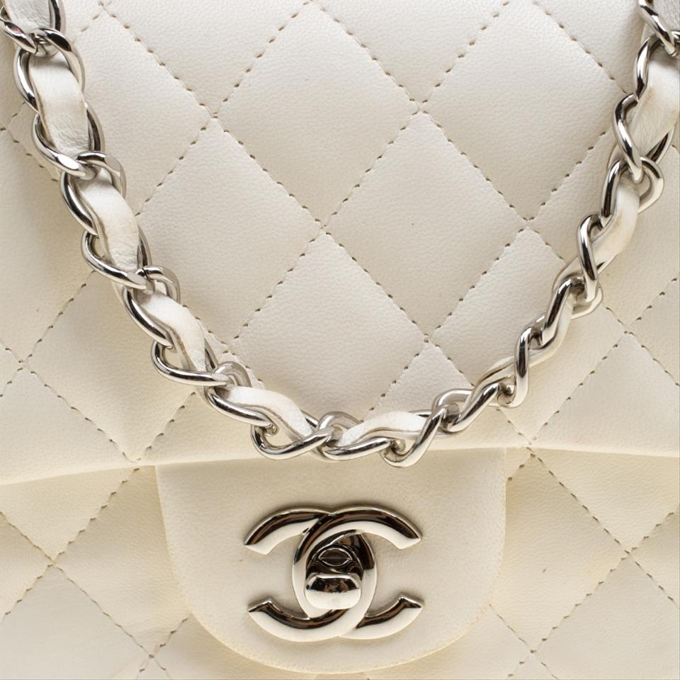 Chanel Classic Flap Quilted Mini Classic Single White Leather Shoulder Bag eb4cabe85a