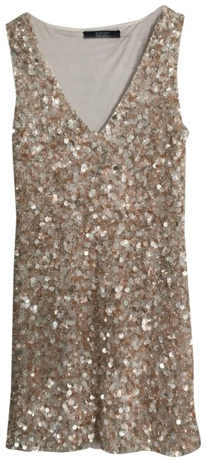 Item - White/ Metallic/Peach Never Worn Beaded 4/6 Short Cocktail Dress Size 4 (S)