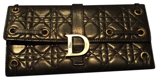 Item - Lady Quilted Black with Red Interior Lambskin Leather Wristlet