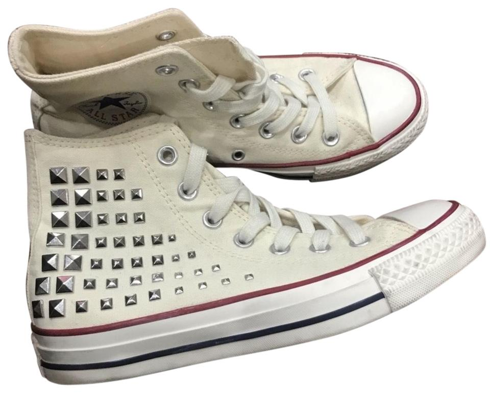 e28dad3f2d27 Converse White Studded High Top Sneakers Size US 6.5 Regular (M