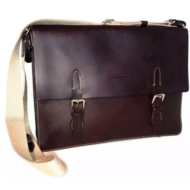 Item - Alto Hidden Handle Briefcase Brown Leather Laptop Bag