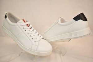 Prada White Nero Leather Lace Up Logo Sneakers 7.5 Us 8.5 Shoes