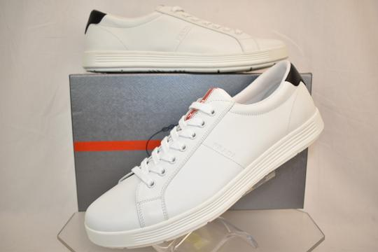 Prada White Nero Leather Lace Up Logo Sneakers 7.5 Us 8.5 Shoes Image 1