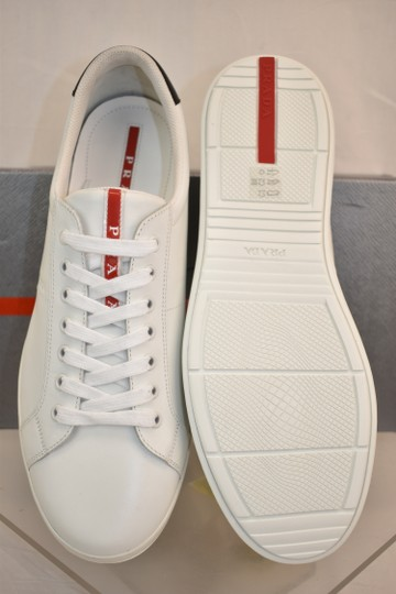 Prada White Nero Leather Lace Up Logo Sneakers 7.5 Us 8.5 Shoes Image 10