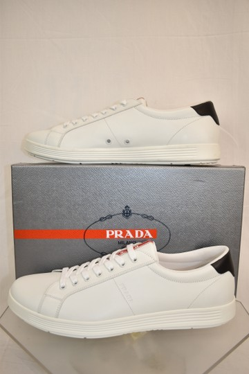 Prada White Nero Leather Lace Up Logo Sneakers 7.5 Us 8.5 Shoes Image 2