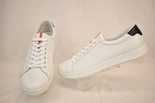 Prada White Nero Leather Lace Up Logo Sneakers 7.5 Us 8.5 Shoes Image 3