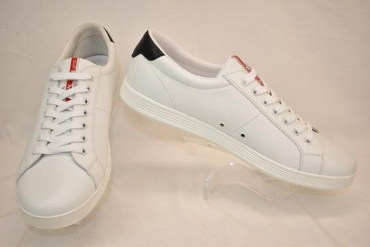 Prada White Nero Leather Lace Up Logo Sneakers 7.5 Us 8.5 Shoes Image 4
